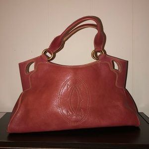 Cartier Bags - RARE Cartier Pink Marcello Handbag w Gold Details